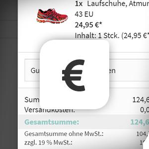 Versandkosten und MwSt. im Offcanvas-Warenkorb